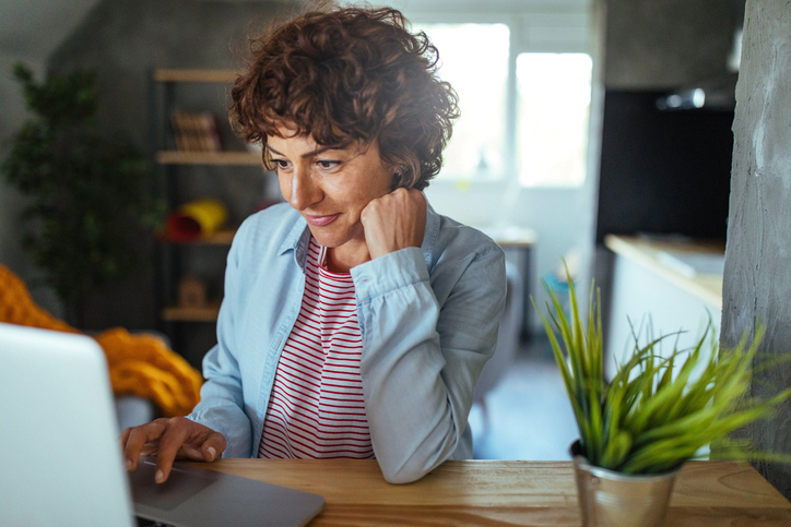 Woman using a computer